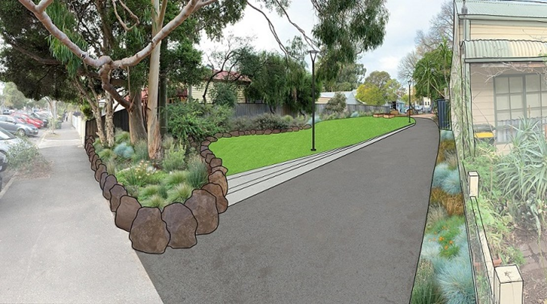 Pakington Street concept view with planted garden beds, turf, lighting and footpath