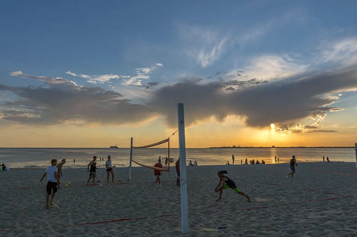 Beach volleyball at sunset on South Melbourne beach