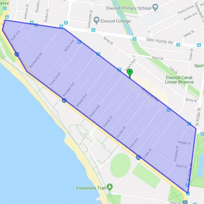 This map shows the Food Organics and Garden Organics (FOGO) bin trial area in Elwood. The area is a roughly rectangular bordered by Bluff Avenue and St Kilda Street (top to bottom) and from Glen Huntly Road and Ormond Road (even-numbered households only) to Ormond Esplanade.
