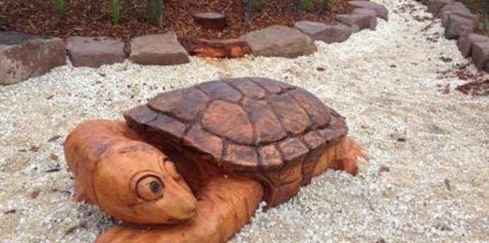 Wood carved turtle at Morris Reserve