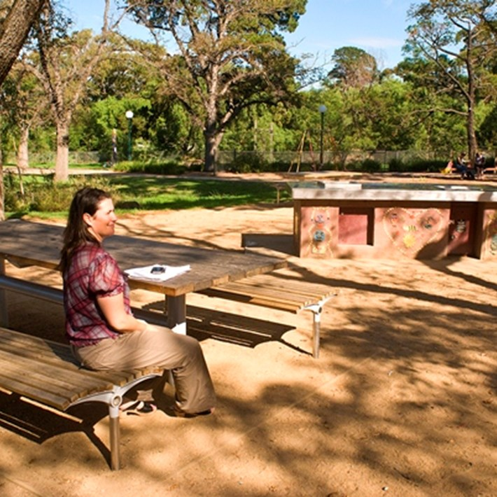 BBQ facilities and a table with seating available for use at Alma Park