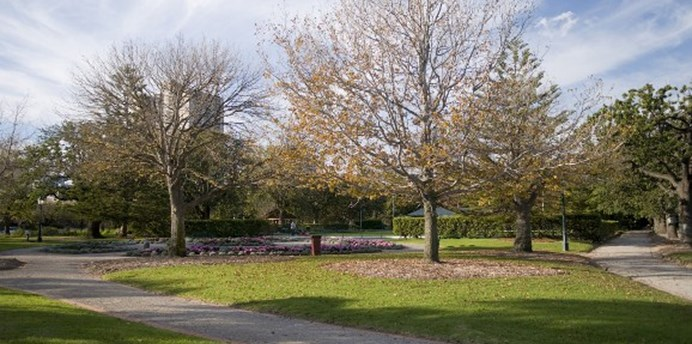 St Vincent Gardens is accessible by gravel paths and features mature trees, garden beds and turf areas