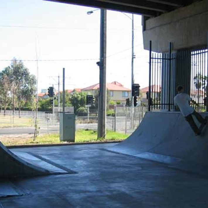 Graham Street Skate space under the Graham Street overpass is used by skaters for recreation