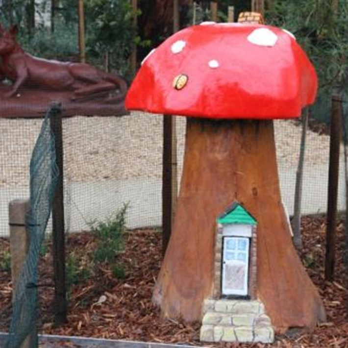 Toadstool play sculpture at Lyell Iffla Reserve