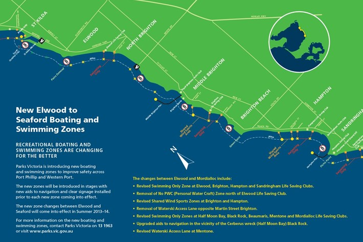 Map showing Elwood to Seaford boating and swimming zones