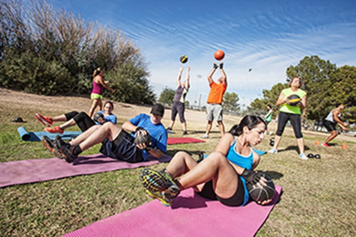 Outdoor fitness training with three different activities running