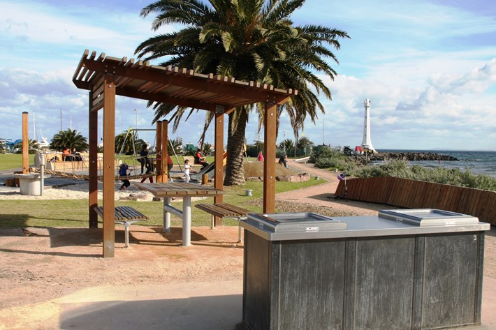 Facilities at Marina Reserve including a BBQ, sheltered picnic area and playground