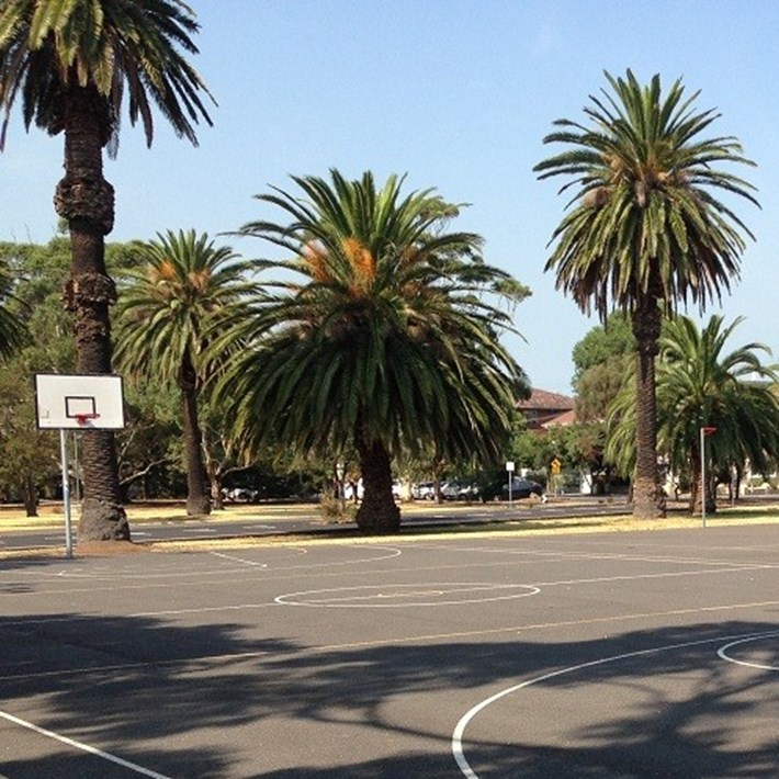Outdoor basketball courts at JL Murphy Reserve