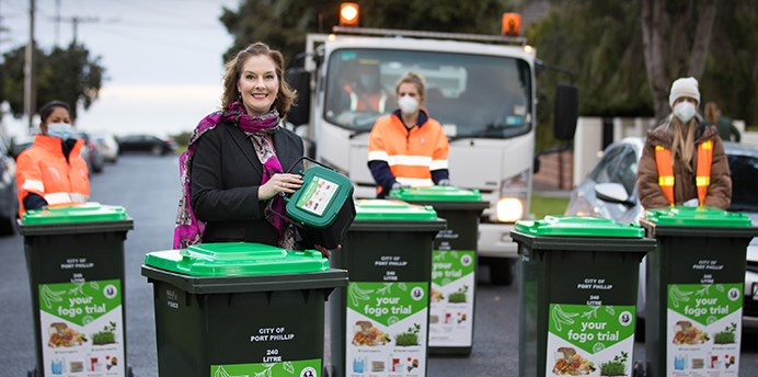 Port Phillip Mayor Bernadene Voss pictured with Council staff and new FOGO trial bins in Elwood